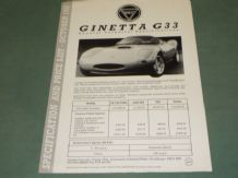 Ginetta G33 General Technical Specifications (single sheet)